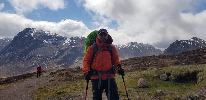 Ben on the West Highland Way trial