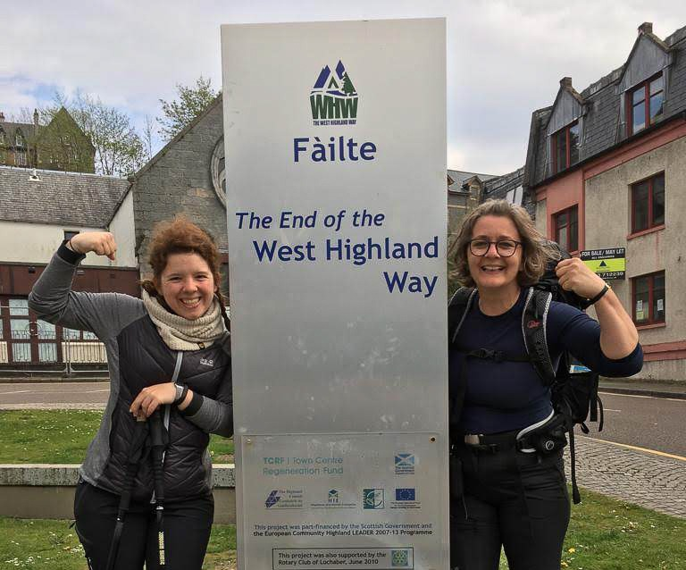 Miriam at the end of West Highland Way