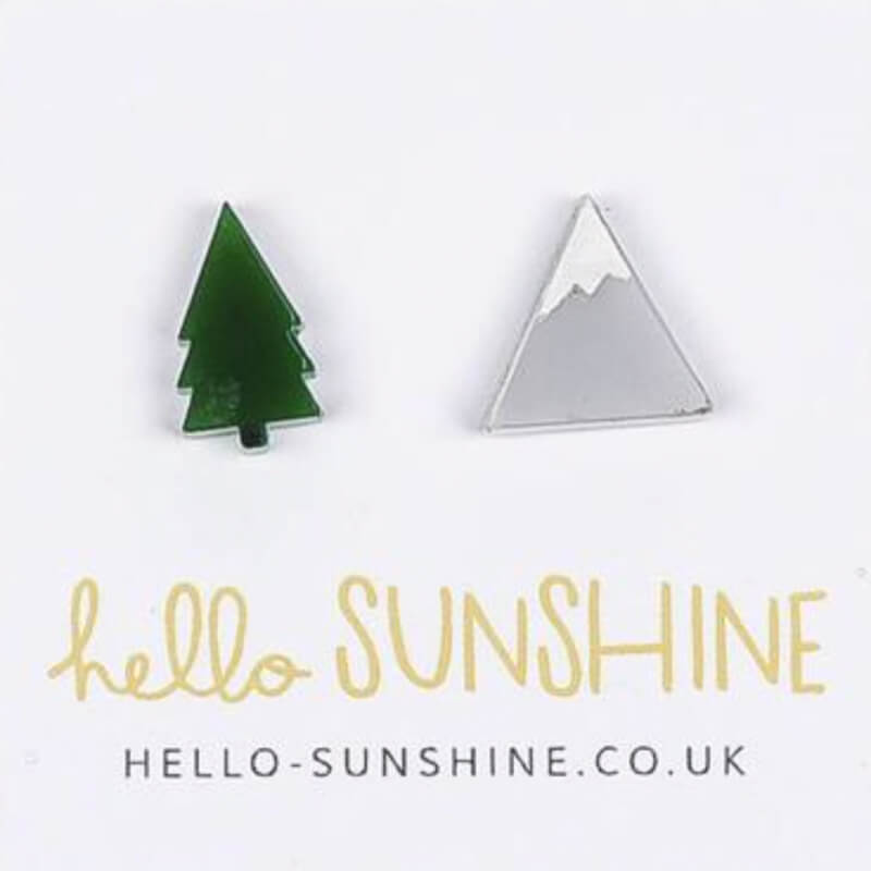 Unique hiking gifts - mountain and tree earrings