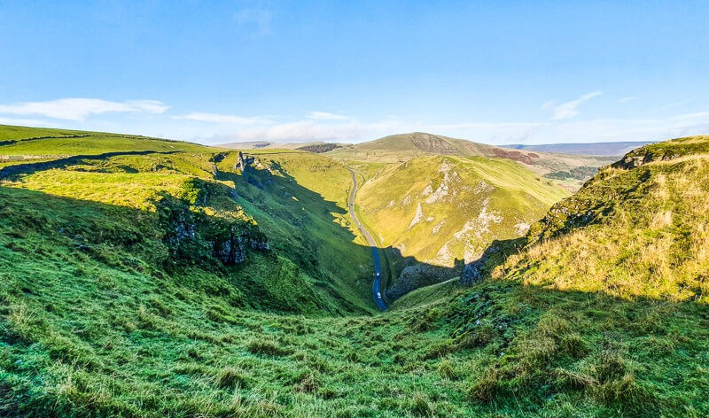 Winnats Pass with views to Mam Tor Peak District