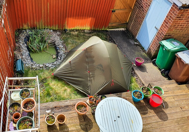 Wild camping in the garden