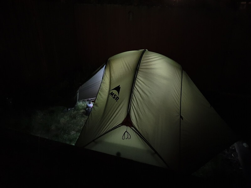 MSR tent in dark