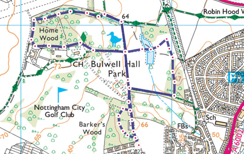 Bulwell Hall Park Walk Map Nottingham