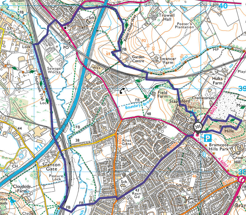 Nottingham Walk Map Bramcote to Erewash Canal route