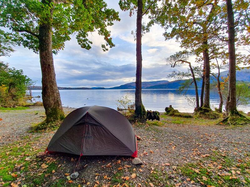 MSR Hubba tent next to Loch Lomond