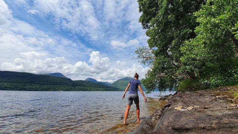 Person paddling in Loch Lomond