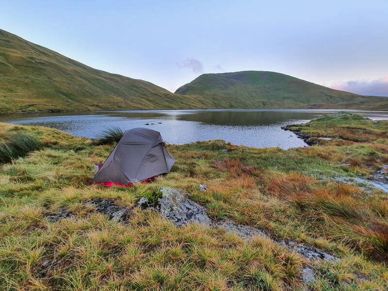 Tent next to tarn