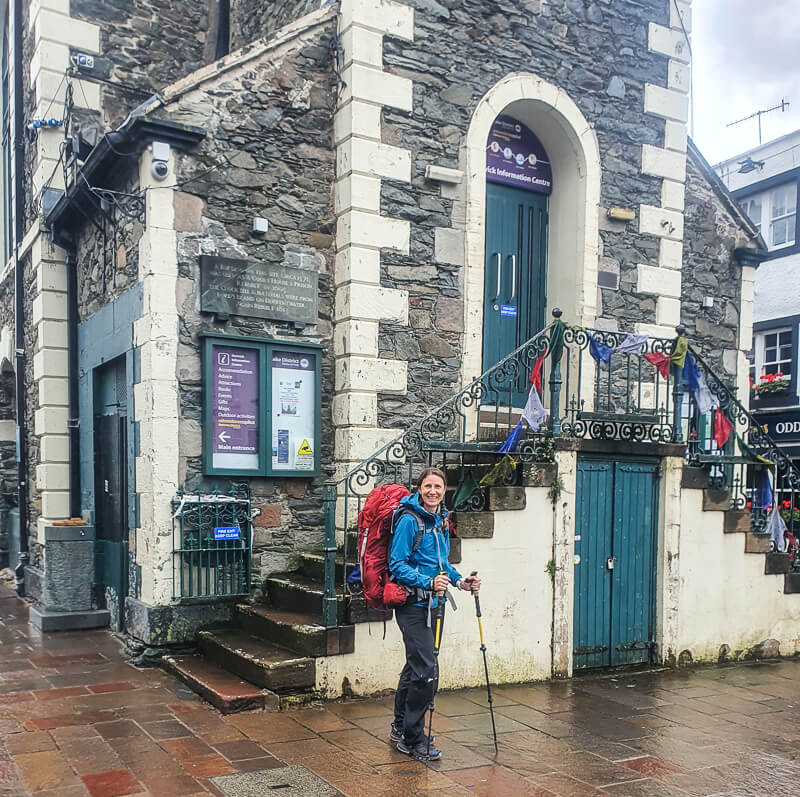 Person standing Moot Hall, start of Bob Graham Round