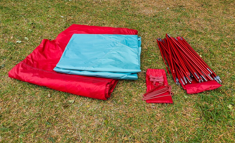 Tent rainfly, poles and stakes