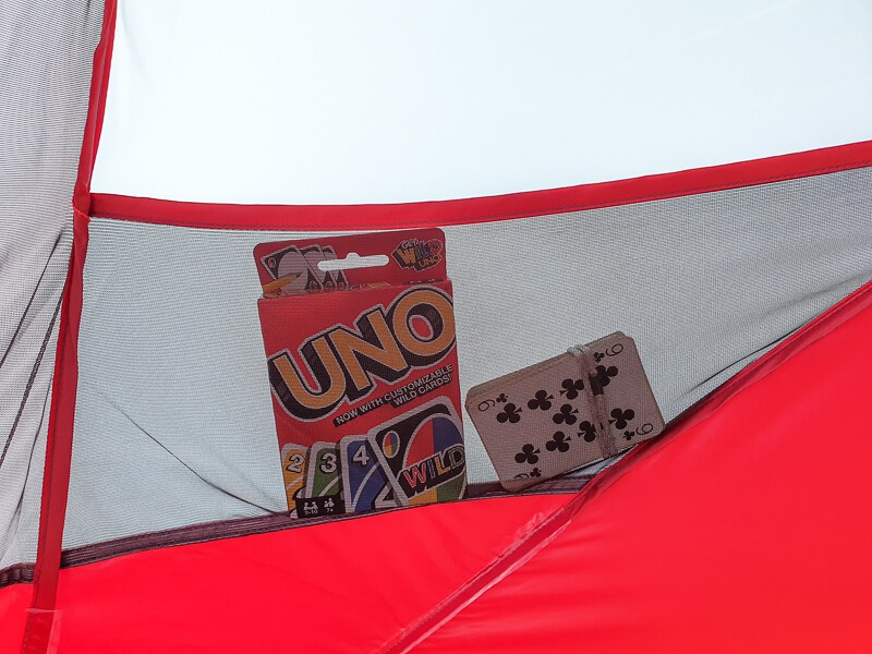 Playing cards in tent pocket