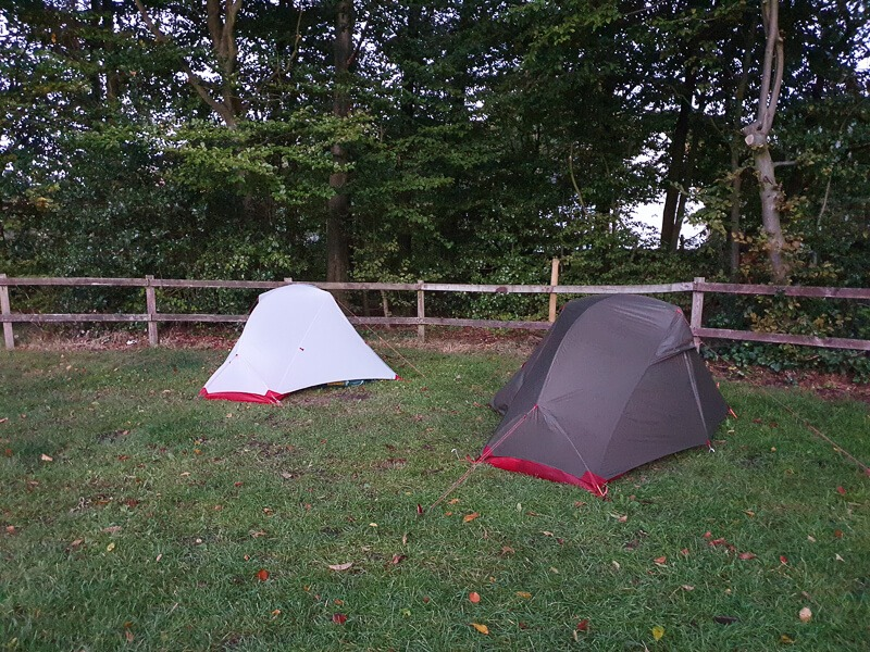 Two tents pitched