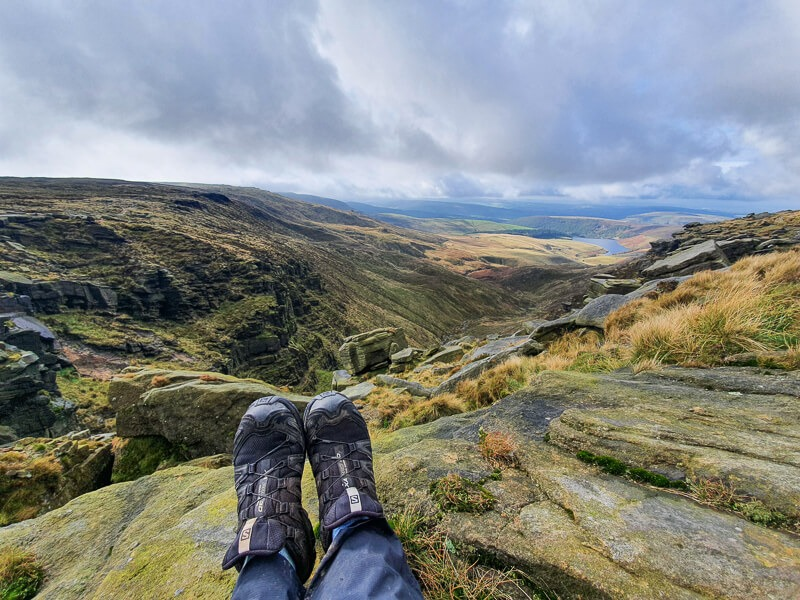 Feet and views from Kinder Downfall