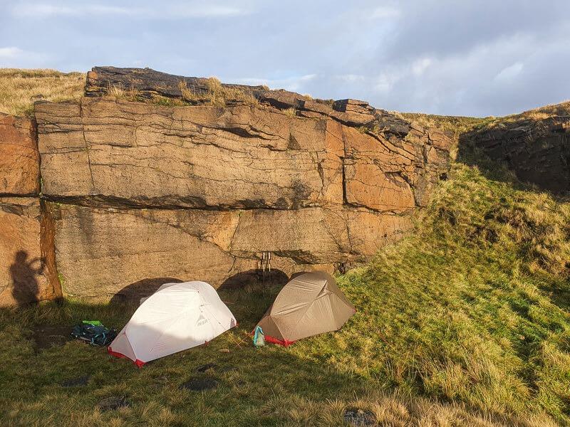 MSR tents pitched near rocks