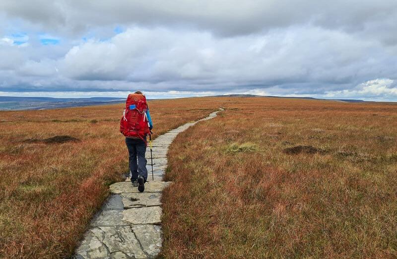 Walking on flagstones on Pennine Way