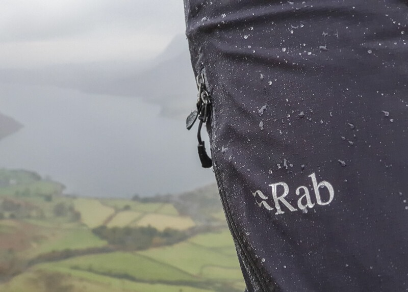 Rab Firewall Pants with drops of rain