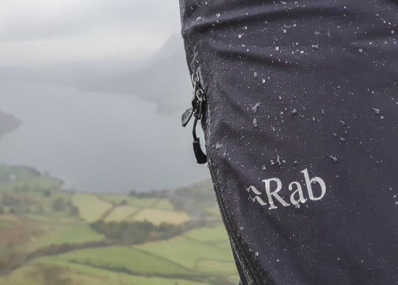 Rab Firewall Pants with drops of rain