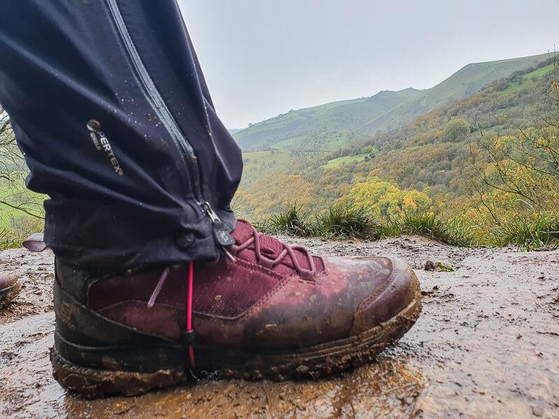 Hiking boot and Rab Firewall Pants