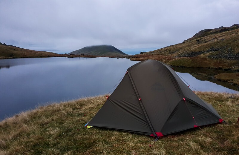MSR Access 2 tent next to tarn
