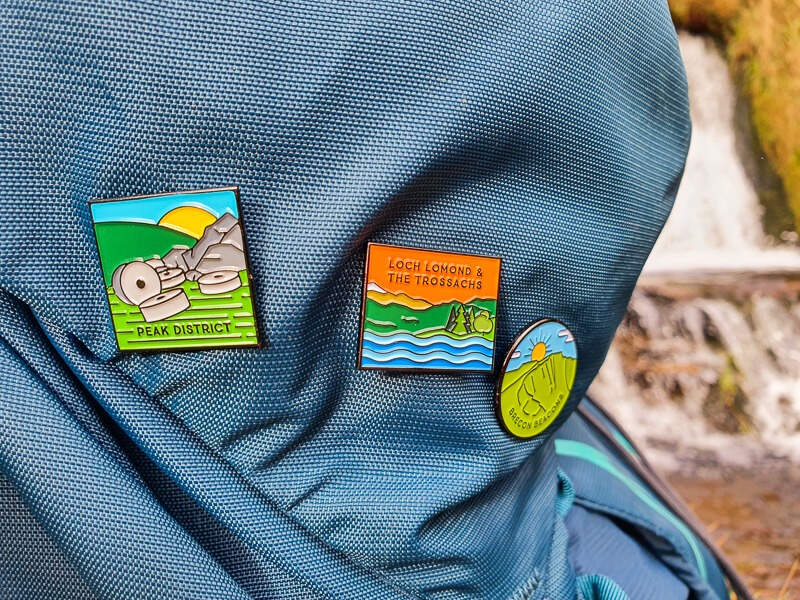 Pin Badges on backpack