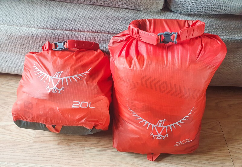 Orange Dry bags