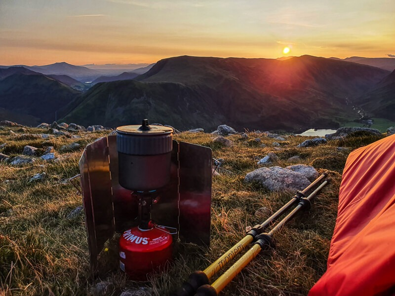 MSR cooking stove and sunrise