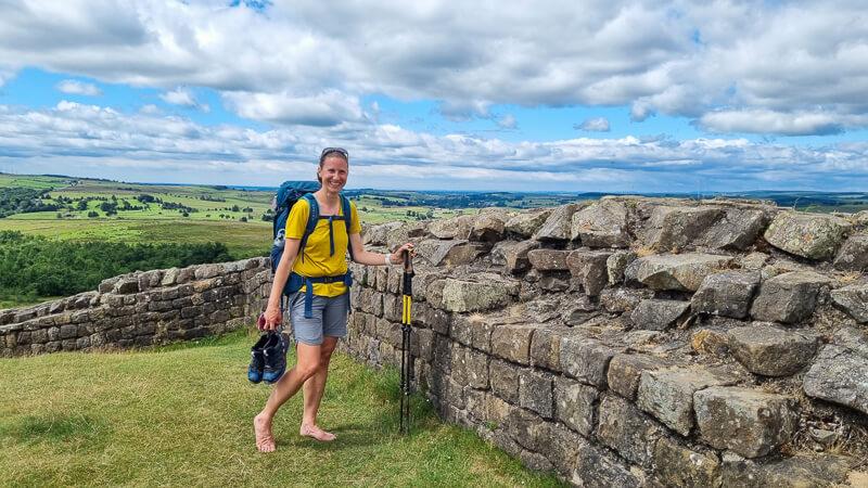 Becky stood next to Hadrian's Wall